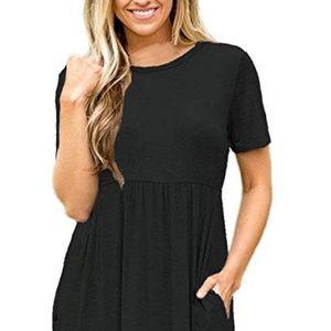 Dresses & Skirts - Women's Short Sleeve Round Neck Long Maxi Dress